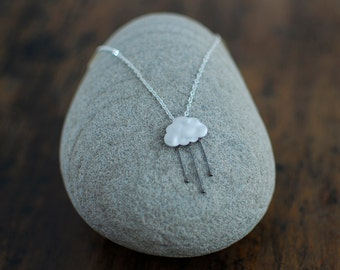 Rain cloud necklace in silver or gold
