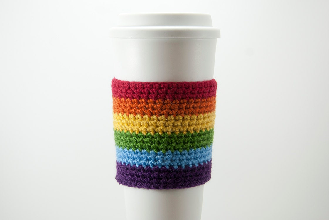 Rainbow Cozy cup cozy coffee cozy cup sleeve crochet | Etsy