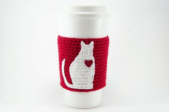 Crochet Cat Applique Pattern Diy Crochet Cup Sleeve Crochet Etsy