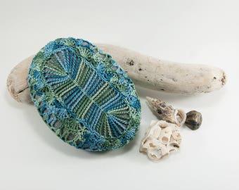 Crochet covered rock, sea green and ocean blue cotton, crochet lace stone, beach wedding, ring pillow, paperweight, fiber art object