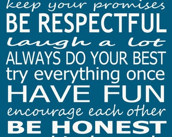 House rules home sign - blue 8x10 print new home wedding gift idea