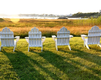 Adirondack chairs at sunset in Biddeford Pool  scenic 5 x 7 color photograph print