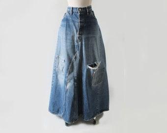 4dba8484 Vintage Big E Jeans Handmade Levis Levi Denim Hippie Maxi Skirt XL XXL