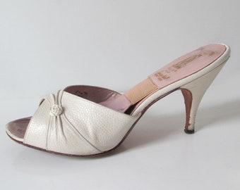4634546b77e Vintage 50 s Wedding White Rosette Springolator Heels Shoes Mules 8.5