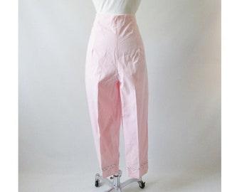 Vintage 60's 50's High Waist Pink Stripe Crop Pants New Old Stock L