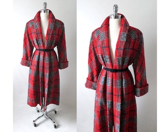 Vintage 50's  Red White Blue Victory Plaid Swing Coat M L