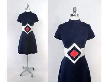 Vintage 60's Space Age Red White Blue Mod Mini Dress M