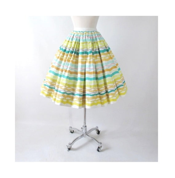 Vintage 50s Atomic Stripe Alex Coleman Full Skirt