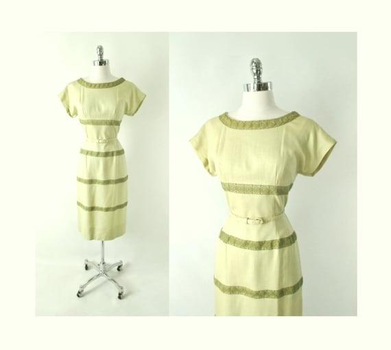 Vintage 50s Linen & Lace Sheath Dress M