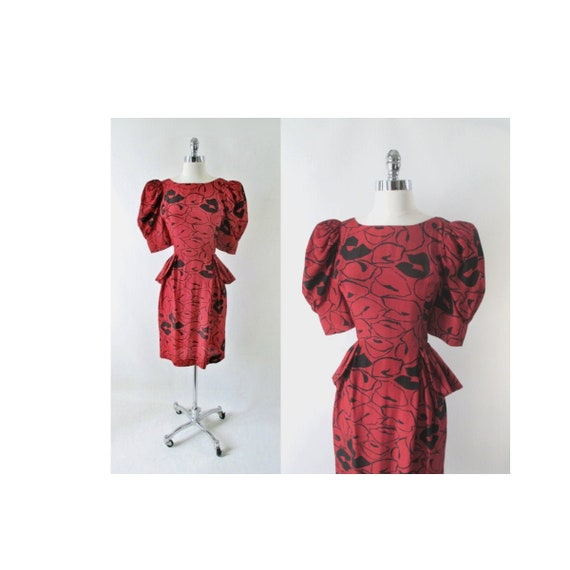 Vintage 80s 40s Style Glam Red Puff Sleeve Peplum