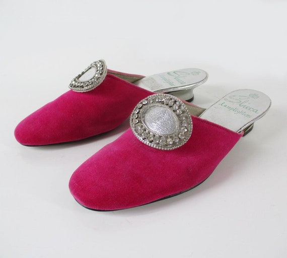 Vintage 60s MOD Pink Velvet Evening Shoes Slippers