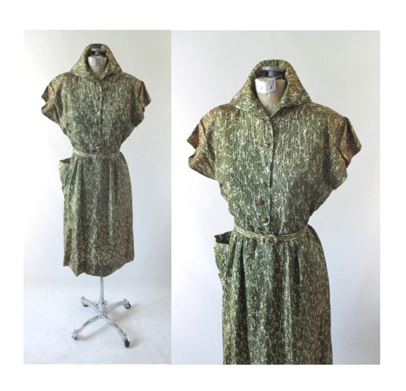 Vintage 40s Green Casual Day Dress M