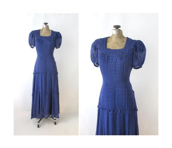 Vintage 30s 40s Sheer Blue Swiss Dot Dress Gown XS