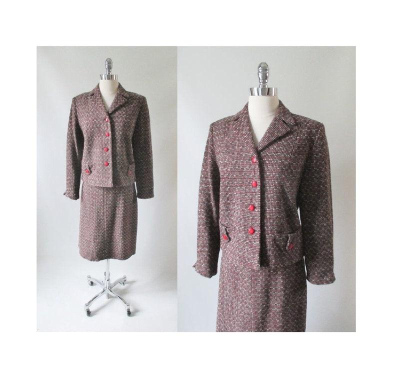 Vintage 60s Red Black White Fleck  Tweed Skirt Jacket Suit Set M