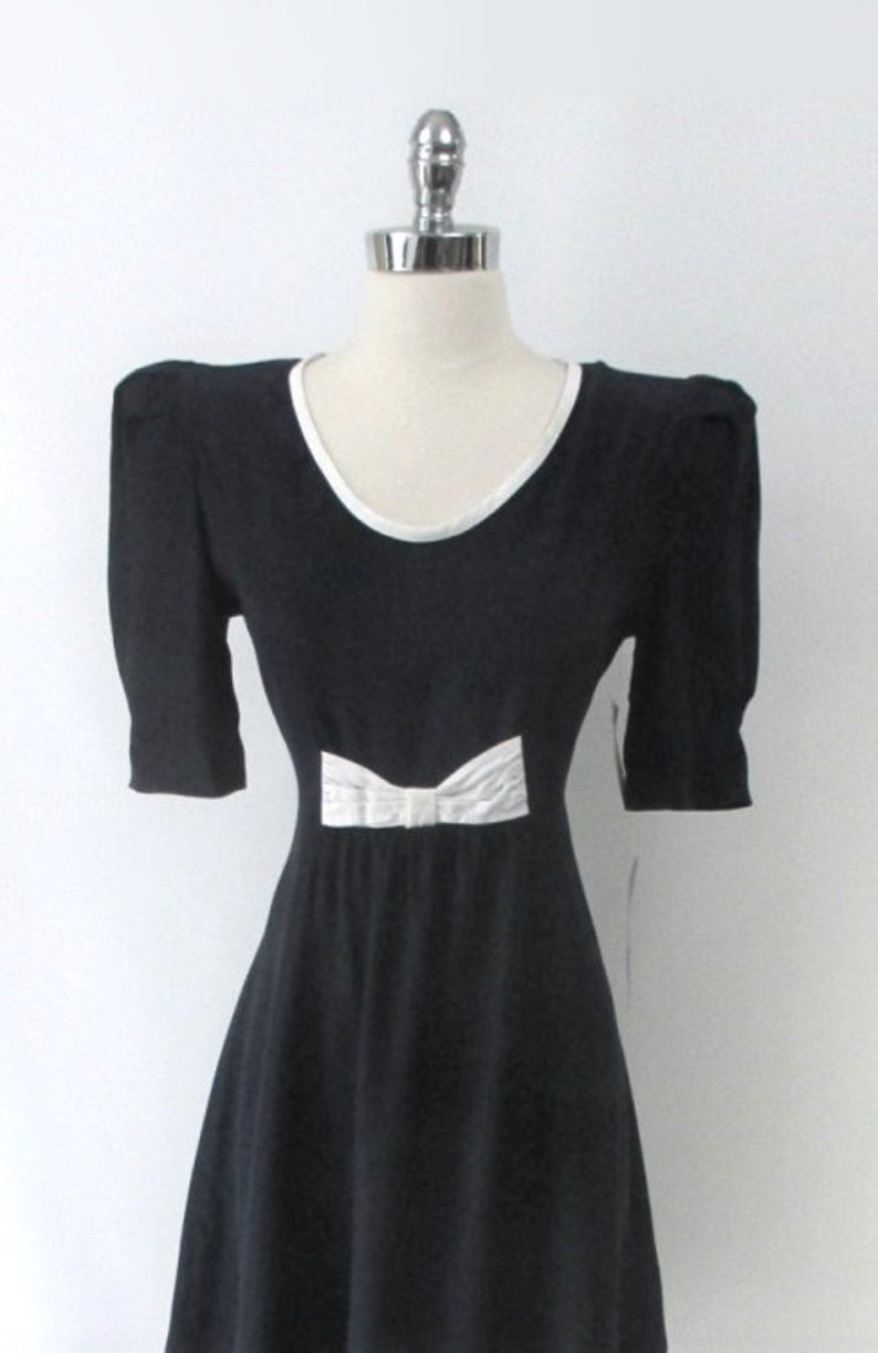Vintage 80s Navy Puff Sleeve Mini Party Dress NWT  NOS S