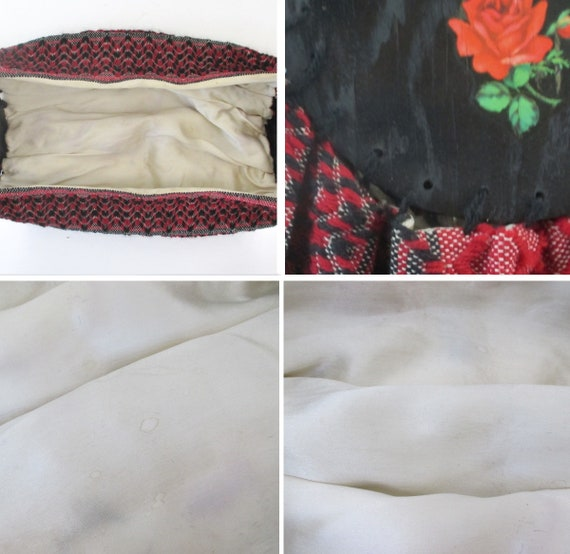 Vintage 40s Red Roses Fabric & Wood Bonnie Style … - image 9