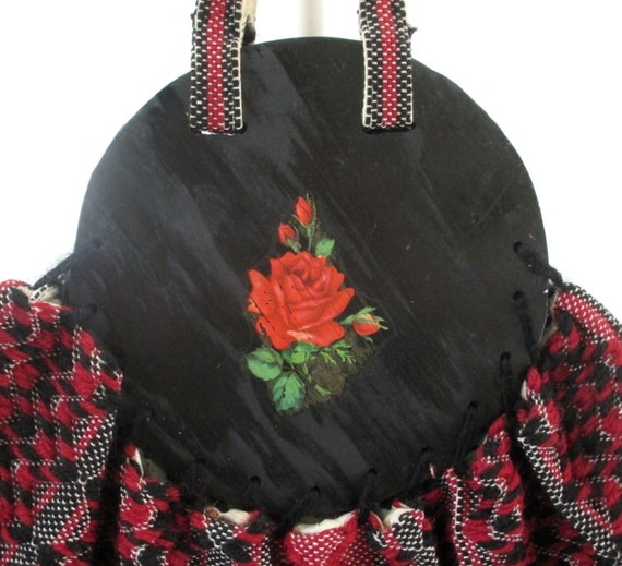 Vintage 40s Red Roses Fabric & Wood Bonnie Style … - image 2