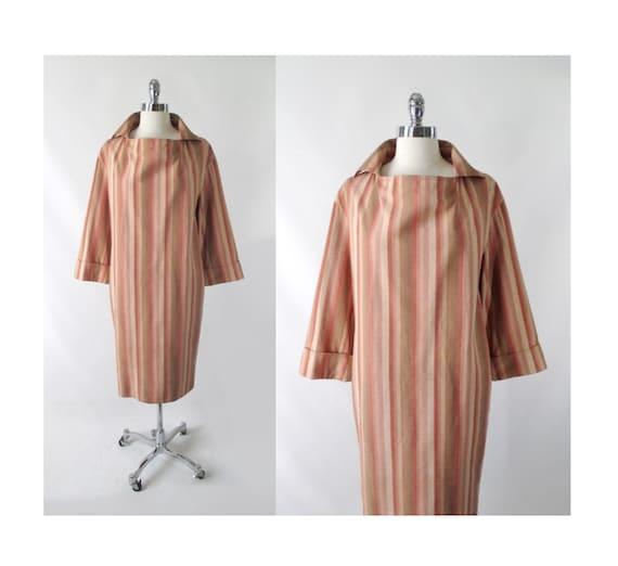 Vintage Halston III Striped Avant Garde Silk Dres… - image 1