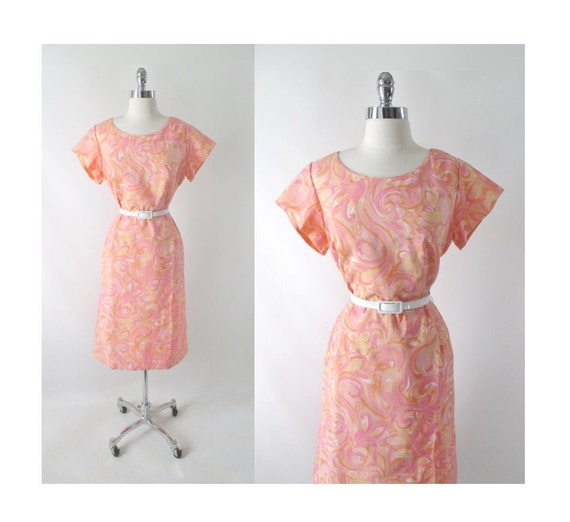 Vintage 50s 60s Pastel Watercolor Floral Swirl She