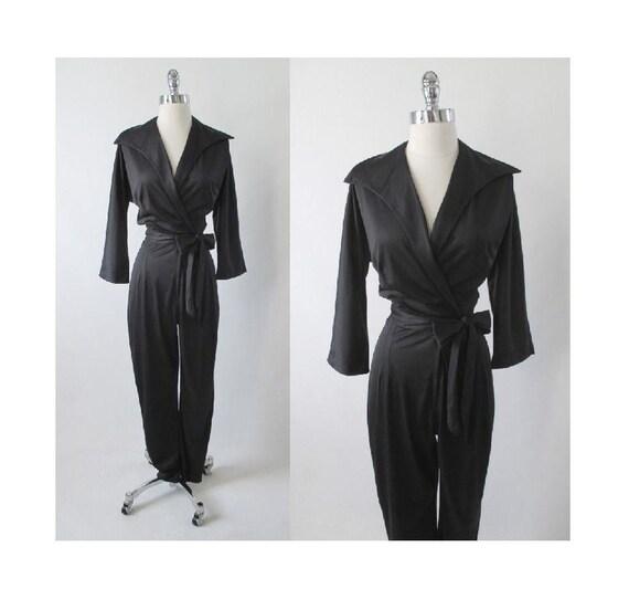 Vintage 60's Black Wrap Bombshell Jumpsuit Catsuit