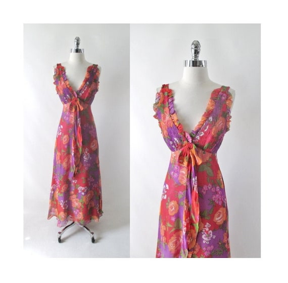 Vintage 70s Rose Garden Chiffon Maxi Party Dress X