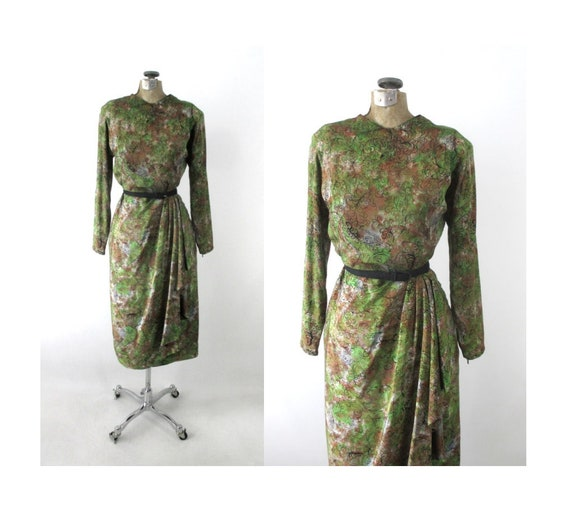 Vintage 40s Novelty Print Sarong Skirt Dress S
