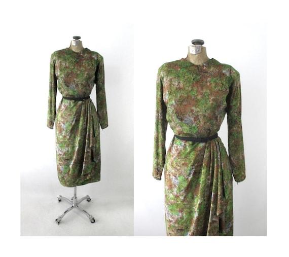 Vintage 40s Novelty Print Sarong Skirt Dress S