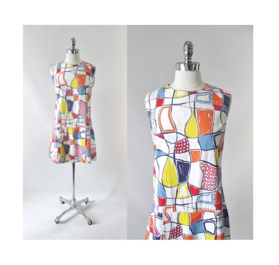 Vintage 60s Abstract Colorblock Skorts Romper Play