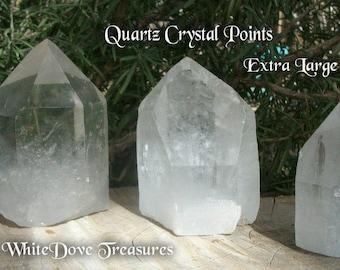 """Cristal de Quartz tours ~ Point de cristal Brésil ~ XLg 3,75"""" 303-474 grammes ~ manifeste esprit cristal ~ Initiation intégration cristal"""