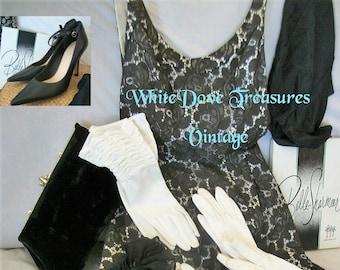 Vintage Evening Gloves ~ Black & White Opera Gloves ~ Nine West High Heels ~ Black Leather Size 7.5
