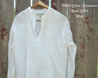 Blanc en lin grande chemise-homme plage mariage chemise-Large plage chemise-Banana Republic-Mandarin col-Casual Elegance-Pull Shirt Unisex