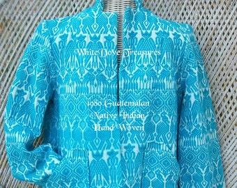 Tissé à la main Vintage veste guatémaltèque ~ 1980 brodé veste ~ moyen ~ Native Indian fait ~ mode au sud-ouest Tribal ~ Blue Jacket
