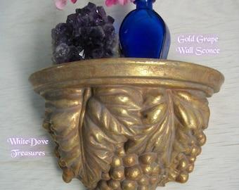 Applique murale grappe or vintage ~ feuille d'or fleuri en détresse étagère murale ~ victorienne Decor ~ Decor italien ~ demi lune Curio tablette