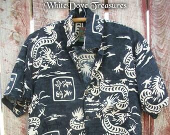 Black Dragon chinois chemise ~ M/L ~ Mens Casual île Style chemise unisexe ~ rayonne si doux, Ultra confort ~ cadeau pour homme