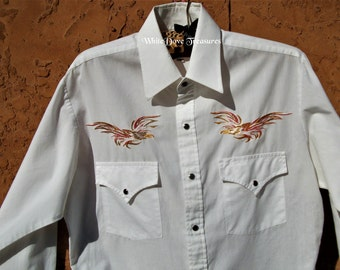 0894611c Vintage White Western Embroidered Shirt, Eagle Embroidery Shirt, Mens Small Western  Shirt, Retro Rodeo Dress Shirt, Snap Button, Long Sleeve