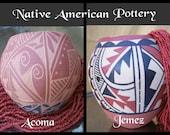 Vintage NATIVE AMERICAN POTTERY - Traditional Southwest Decor Handmade Bowl, Vase, Coil Clay Pots - Choice Jemez or Acoma Pueblo Antique