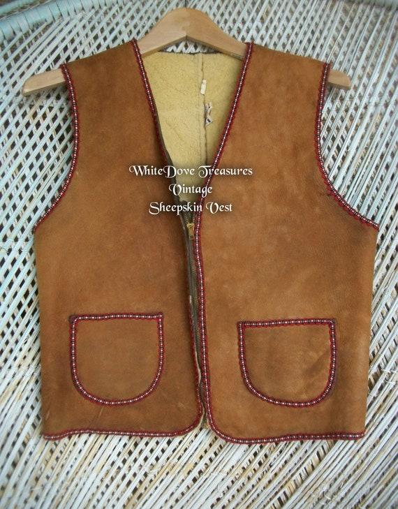 Vintage Sheepskin Vest, Genuine Leather & Natural
