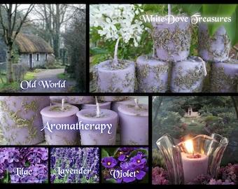 LAVENDER Votive Candle Amethyst Gemstones TeaLight Crystal Strombolite Infused Load Lilac Violet Flower Reiki Meditate Chakra Yoga Feng Shui
