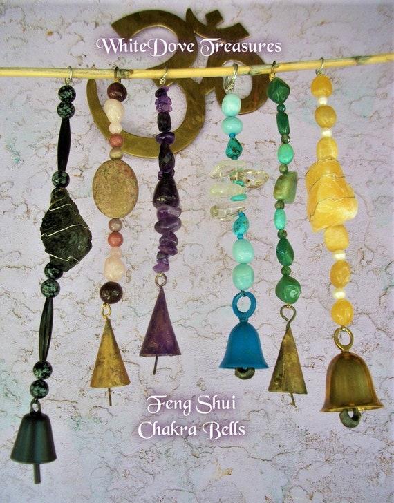 "Small Brass Meditating Buddha /& Chakra Beads Bells Wind Chime 9.5/"" Overall"