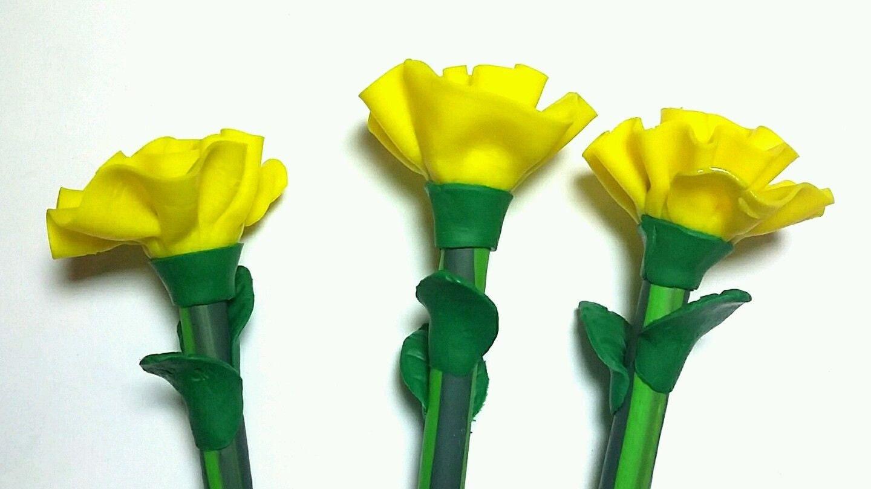 New Cute Handmade Polymer Clay Writing Pen Yellow Carnation Etsy