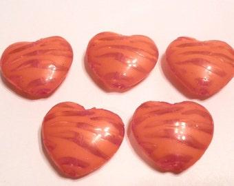 New Valentine 5 Transparent Orange Zebra Heart  25mm Acrylic Beads