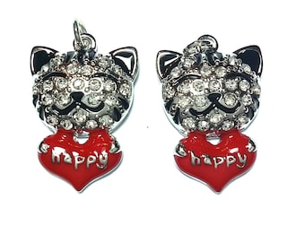 New 1 Cute Small Happy Cat Animal with Crystals  Charm Pendant