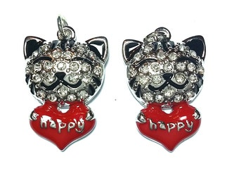 New 2 Cute Small Happy Cat Animal with Crystals  Charm Pendant