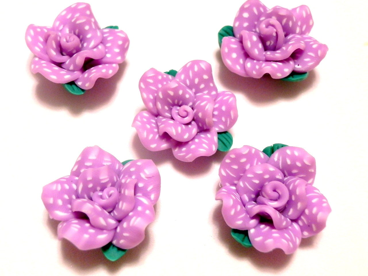 6 Fimo Polymer Clay Violet White Flower Fimo Beads 25mm Etsy