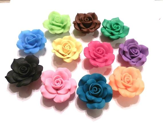 Lot de 6 Perles fleur ROSE Fimo Polymère 30mm