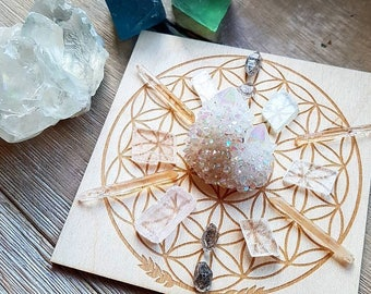 Crystal Grid - Wooden - Flower of Life