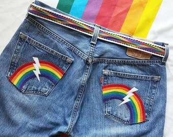 dea57be284f8 Rainbow pocket jeans by Boho Rain/ upcycled 501 Levi jeans size 34 x 30/  hippie rainbow jeans/ wearable art jeans/ unisex pride jeans