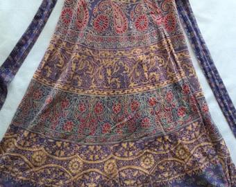India wrap skirt/ vintage cotton made in India skirt/ purple flower paisley wrap skirt/ high waist skirt size XS-S/ hippie boho skirt