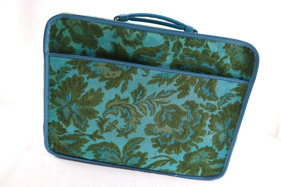 Turquoise and green suitcase/vintage tapestry suit