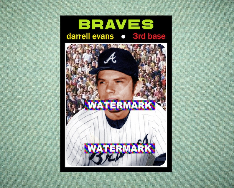 Darrell Evans Atlanta Braves Original Card That Could Have Been By Maxcards 1971 Style Custom Baseball Card 25 X 35 Mint